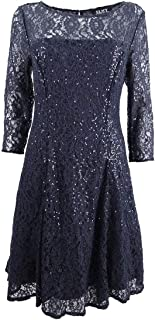 S.L. Fashions Women's Size Lace and Sequin Fit and Flare Dress Plus