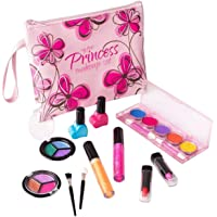 My First Princess Washable Real Makeup Set with Floral Cosmetic Bag