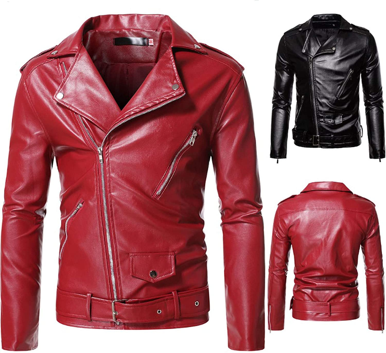 Men Leather Jackets,Vintage Classic Leather Zip Up Biker Bomber Jacket V1673
