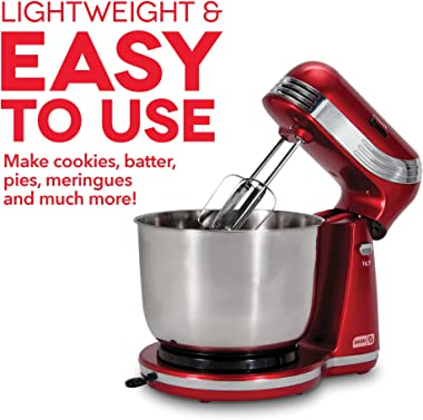 DASH Stand Mixer (Electric Mixer for Everyday Use): 6 Speed Stand Mixer with 3 qt Stainless Steel Mixing Bowl, Dough Hooks &a