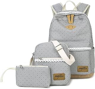 Mygreen Polka Dot 3pcs Kids Book Bag Purse School Backpack Canvas Girls Teen - Gray