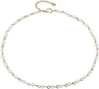 Fettero Dainty Layered Gold Chocker Handmade Beads 14K Gold Fill Heart White Opal Necklace