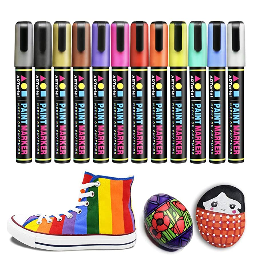 Permanent Paint Pens for Rock Painting, 12 Acrylic Paint Markers on Almost All Surface - Fabric, Leather, Rocks, Glass, Canvas, Ceramic, Wood, Plastic, Clay