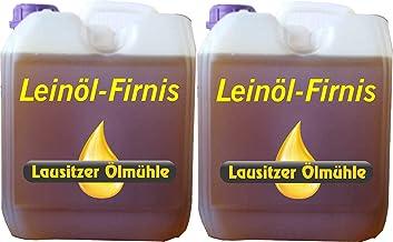 Hoyo Technology GmbH 10 Liter Leinöl Firnis (2 x 5 Liter) Lausitzer Leinölfirnis für Holzschutz doppelt gekocht und harzfrei