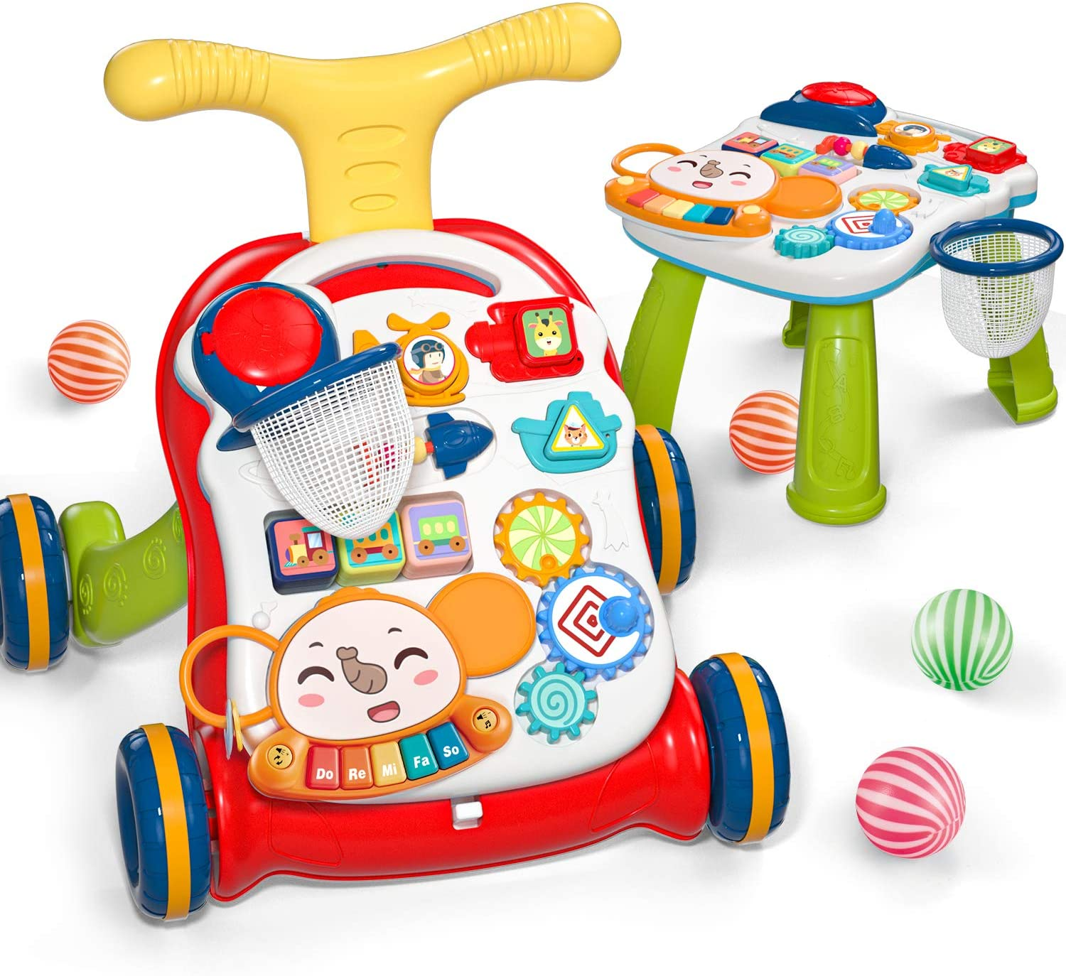 Cute Stone Sit-to-Stand Learning Walker - The Walker and the Removable activity panel behind