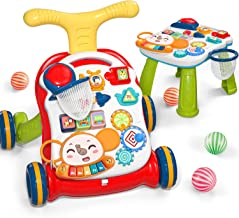 CUTE STONE Sit-to-Stand Learning Walker,2 in 1 Baby Walker,Kids Early Educational Activity Center,Multifunctional Removabl...