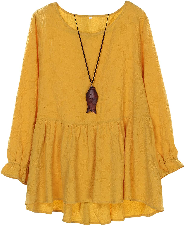 Minibee Women's Cotton Peplum Tunics Dress Ruffle Hem Babydoll Tops Plus Size Blouse for Women