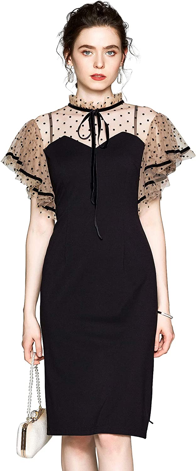 Women's Tulle Sleeves Rounded Neck V Casual Splicing Max New popularity 43% OFF A-line