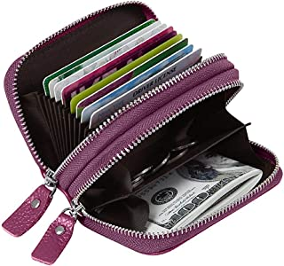 Women's RFID Blocking Credit Card Holder Leather Compact Accordion Walletpurple