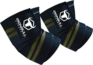 """Iron Bull Strength Elbow Wraps (1 Pair) - 40"""" Elastic Elbow Support & Compression - for Weightlifting, Powerlifting, Fitness, Cross Training & Gym Workout - Elbow Straps for Weight Lifting"""