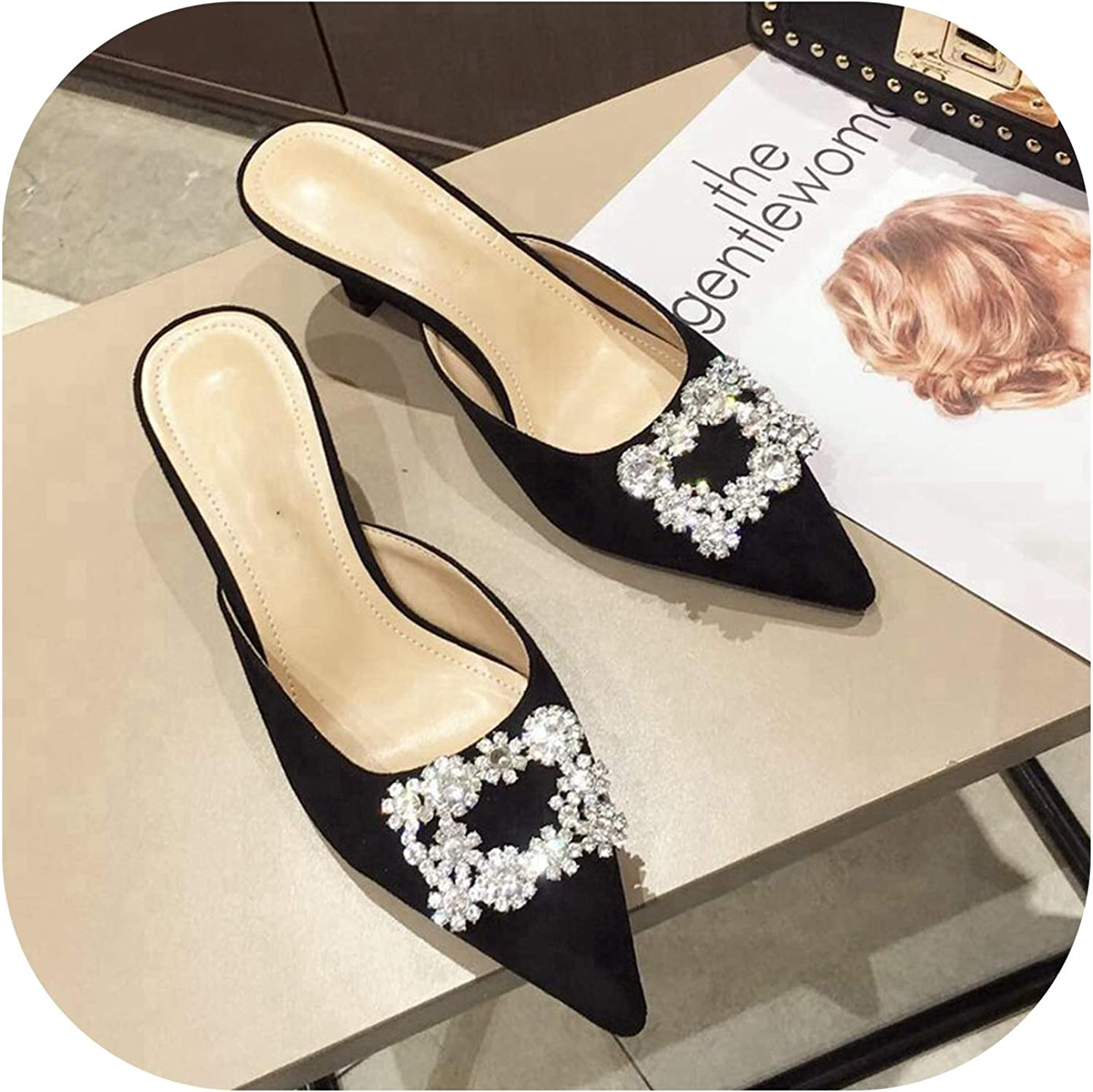 Sweetest-Thing Pointed Mule Slippers,Mid Heel Mules Slippers Pointed Toe Crystal
