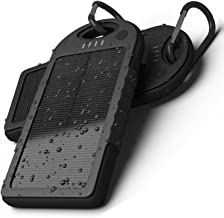 Waterproof 300000mAh Dual USB Portable Solar Charger Solar Power Bank for iPhone Samsung LG Xiaomi Huawei (Black)