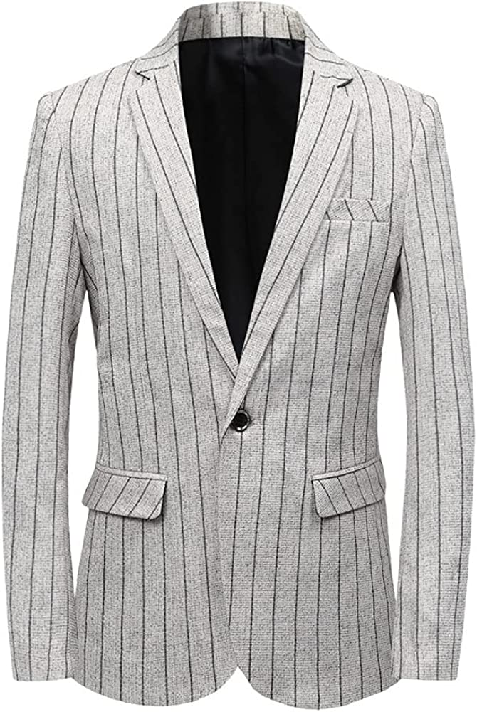 chouyatou Men's Lightweight One Button Striped Suit Blazer Jacket Sport Coat