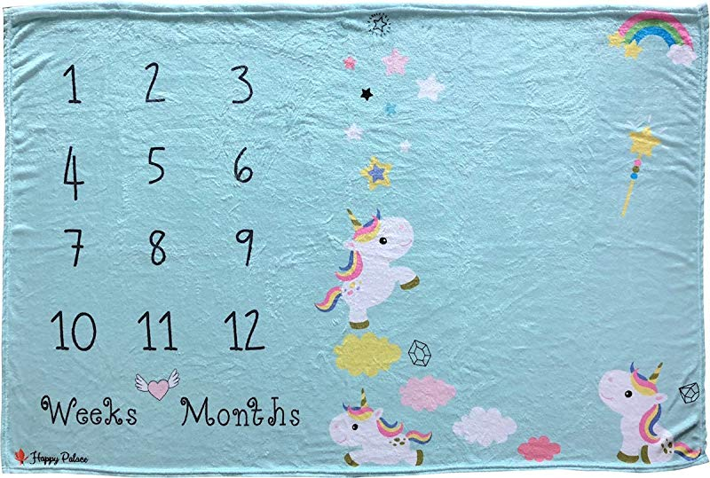 Happy Palace Baby Milestone Blanket Weekly And Monthly Milestones Floral Wreath And Frame Included Photo Backdrop Prop For Newborn Boy And Girl For New Mom Premium Fleece Large 60 X40