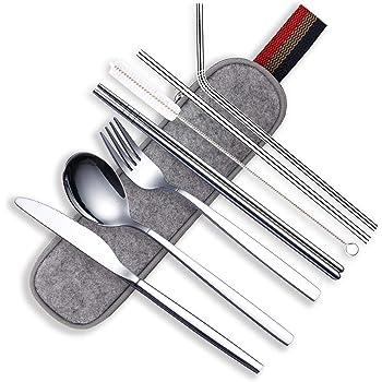 HOMQUEN Utensilios Portátiles, Juego de Cubiertos de Acero Inoxidable, Incluye Cuchillo/Tenedor/Cuchara/Palillos/Pajitas/Cepillo/Estuche Portátil (8 Pieza Plata): Amazon.es: Hogar