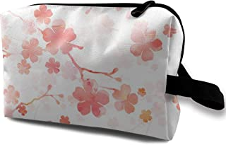 Peach Pink Cherry Blossom On White Travel Makeup Cute Cosmetic Case Organizer Portable Storage Bag for Women