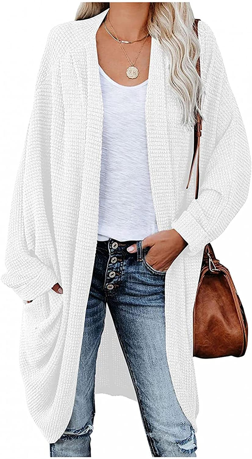 Misaky Women Oversized Cardigan Sweaters Batwing Sleeve Open Front Chunky Cable Knit Cardigan Sweater Coat