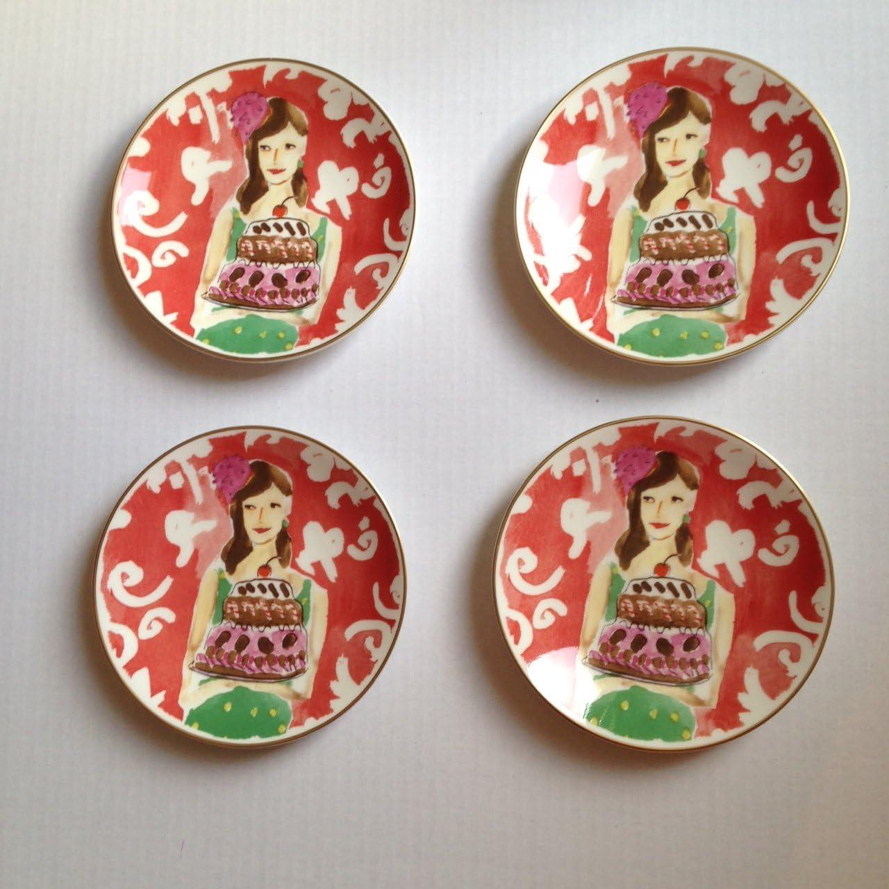 Lenox Illustrated Just Desserts Tidbit Kate Set Spade Max 64% OFF Plates 4 Al sold out.