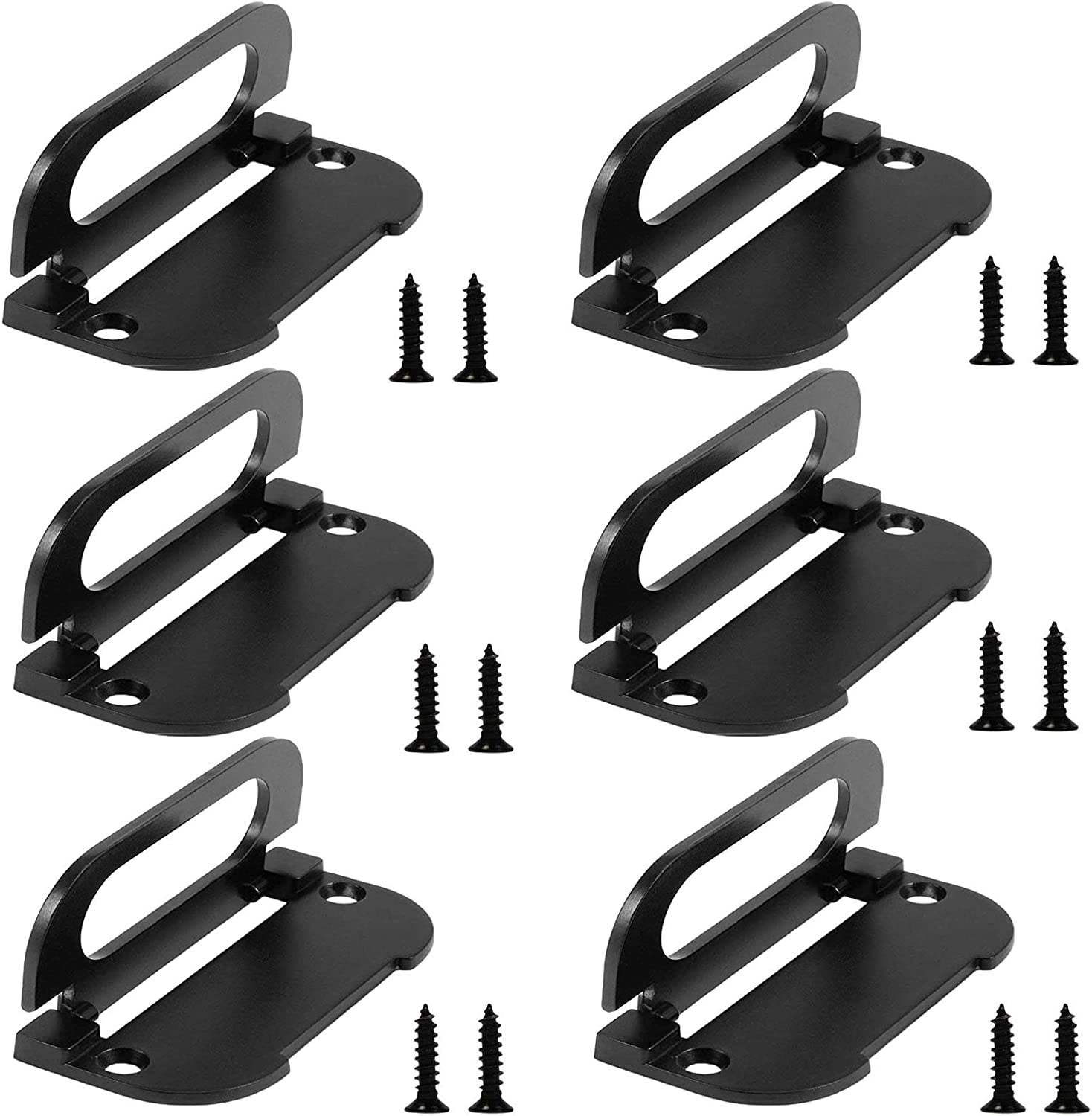 Flush Ring Pull Handle,6 Pack 2.87 inch Zinc Alloy Pull Handle Hidden Recessed Furniture Grip for Door Drawer Cabinets(Matte Black)