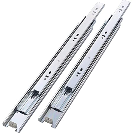 Ball Bearing Side Mount Cabinet Drawer Slides Zinc Plated-Cold Rolled Steel Soft Close Drawer Slides 14 inch 3 Folds Full Extension