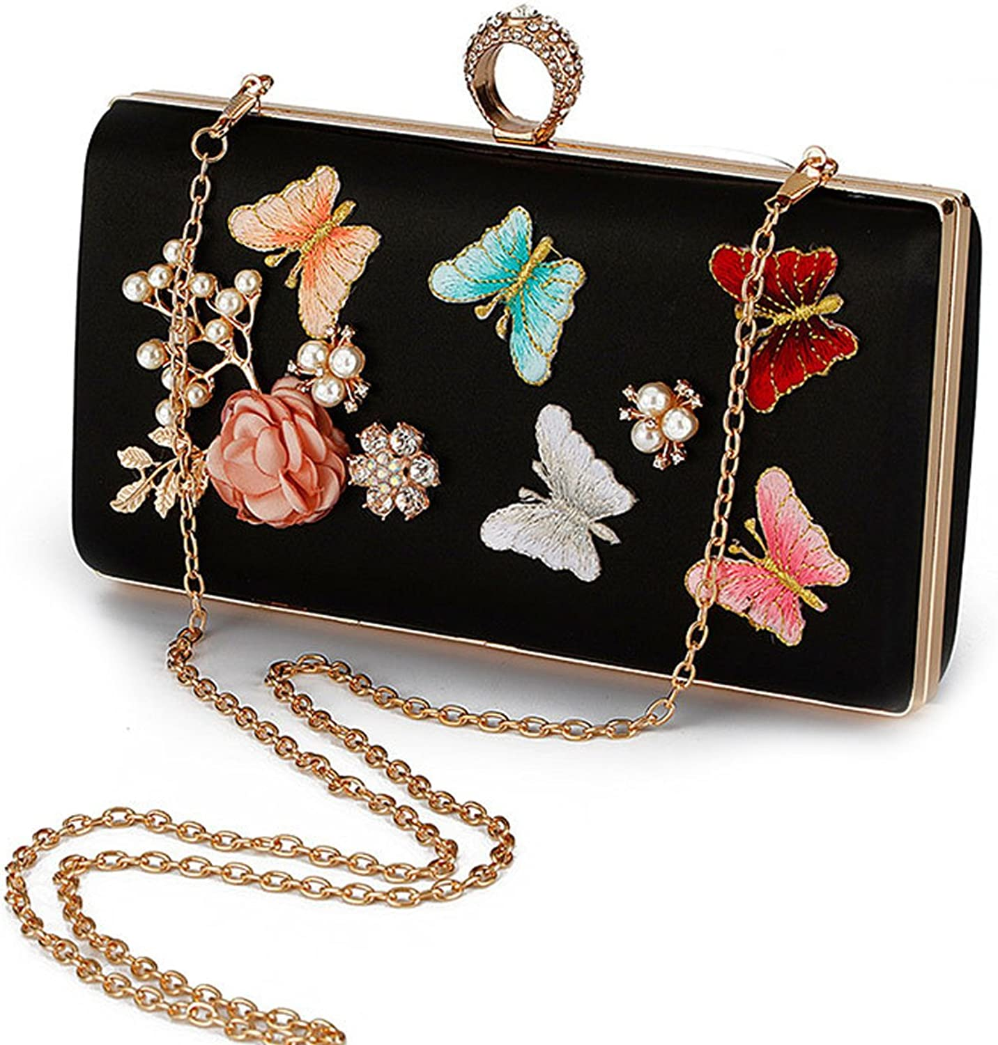 Flada Flower Evening Bag Women's Silk Clutches Purse for Wedding Party