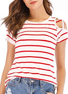 Womens Loose Strappy Cold Shoulder Tops Casual Basic Short Sleeve Striped T-Shirts