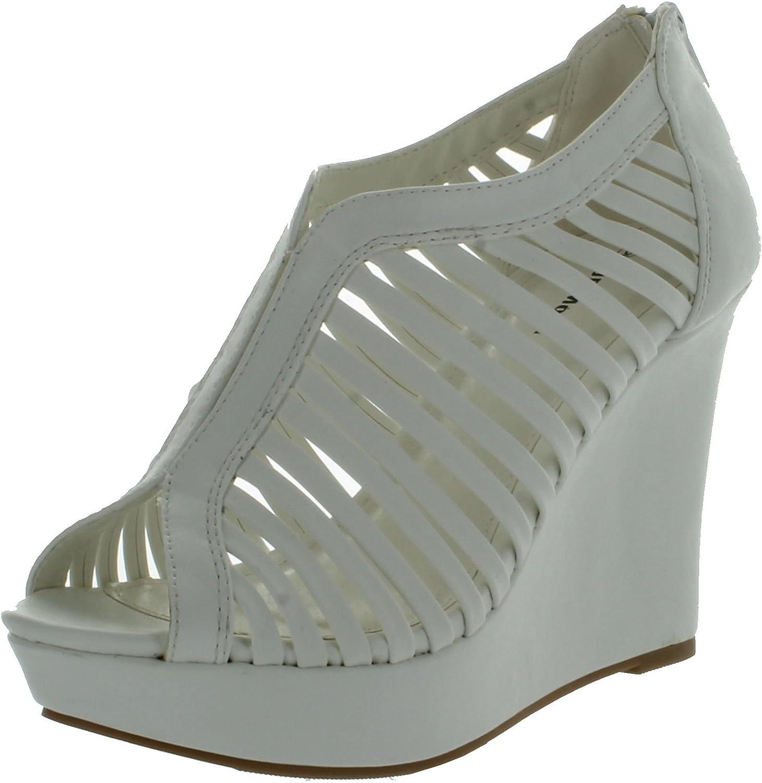 Top Moda Womens Denver1 Gladiator Wedge Heel SandalsWhite10