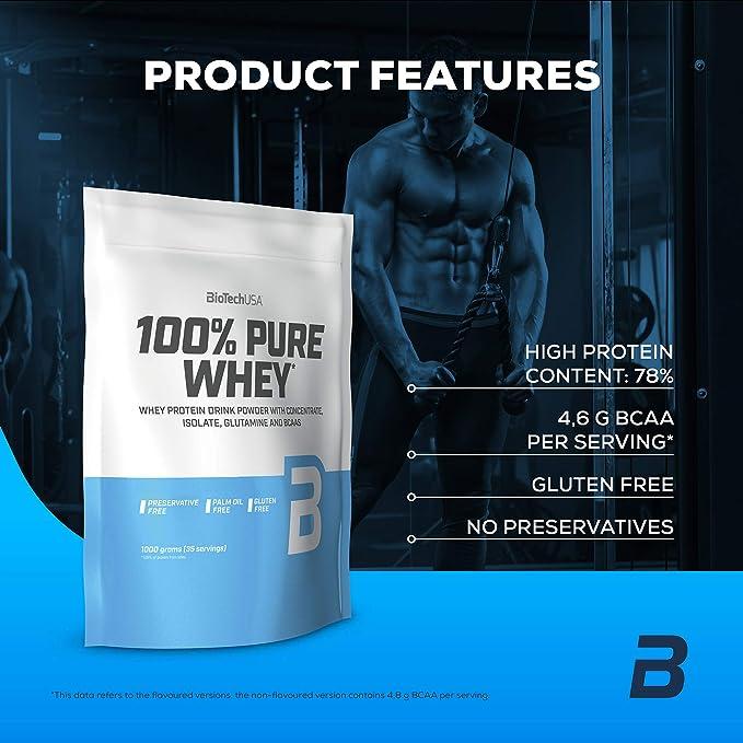 BioTechUSA 100% Pure Whey Complejo de proteína de suero, con aminoácidos añadidos y edulcorantes, sin conservantes, 454 g, Fresa