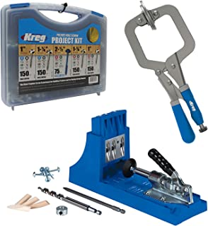 Kreg Jig K4 Pocket Hole System with SK03 Pocket-Hole Screw Kit in 5 Sizes and PREMIUM Face Clamp