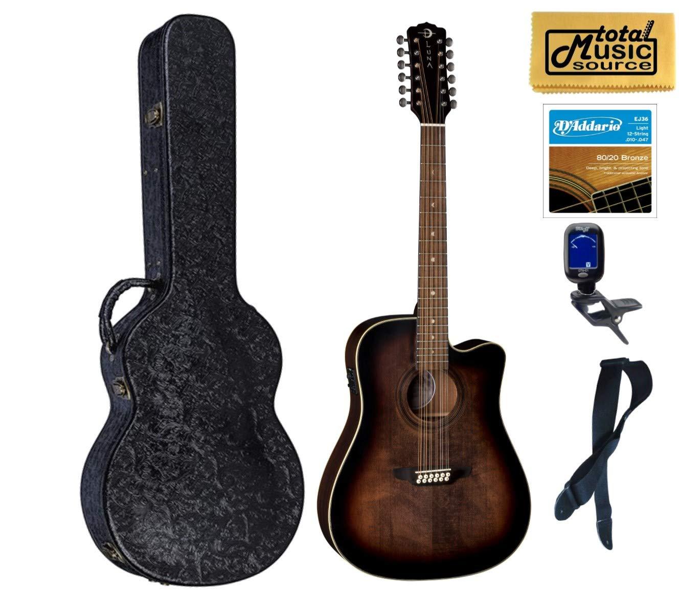 Luna Guitars ART V DCE 12 Art Vintage12 Guitarra A/E, estuche rígido: Amazon.es: Instrumentos musicales