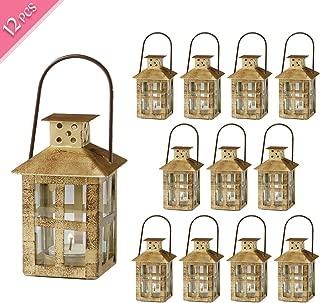 Kate Aspen Decorative Lanterns, Distressed Metal Vintage Mini Wedding Lantern, Centerpiece for Wedding Table, Accent Piece and Home Decor, Wedding Favors and Baby Shower Favors (Gold, 12)