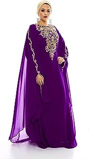 Lanya Kaftan for Women-Long Sleeve Maxi Dress, Gown Formal Chiffon Embroidered