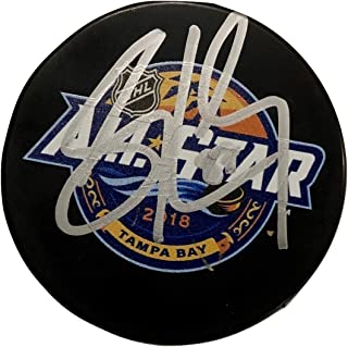 SIDNEY CROSBY Hand SIGNED AUTOGRAPHED 2018 ALL-STAR Puck Pittsburgh PENGUINS w/COA & Cube