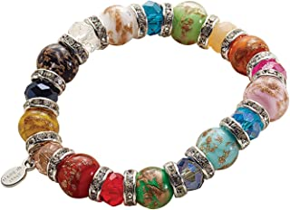 Women's Murano Glass Bead Bracelet - Elastic with CZ Separators