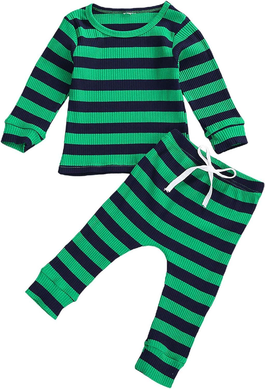 Voydsunflower Baby Girls Boys 2 Pieces Pajamas Set Stripe Long Sleeve T-Shirt Tops & Pants Fall Winter Sleepwear Outfits