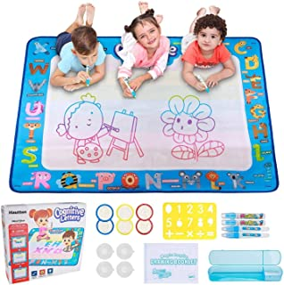 Hautton Magic Water Doodle Mat, 39.5 x 31.5 Inch Large Drawing Coloring Mat Painting Writing Board with 15 Accessories Edu...