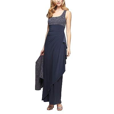 Alex Evenings Petite Long Dress with Side Ruching and Bolero Jacket (Smoke) Women