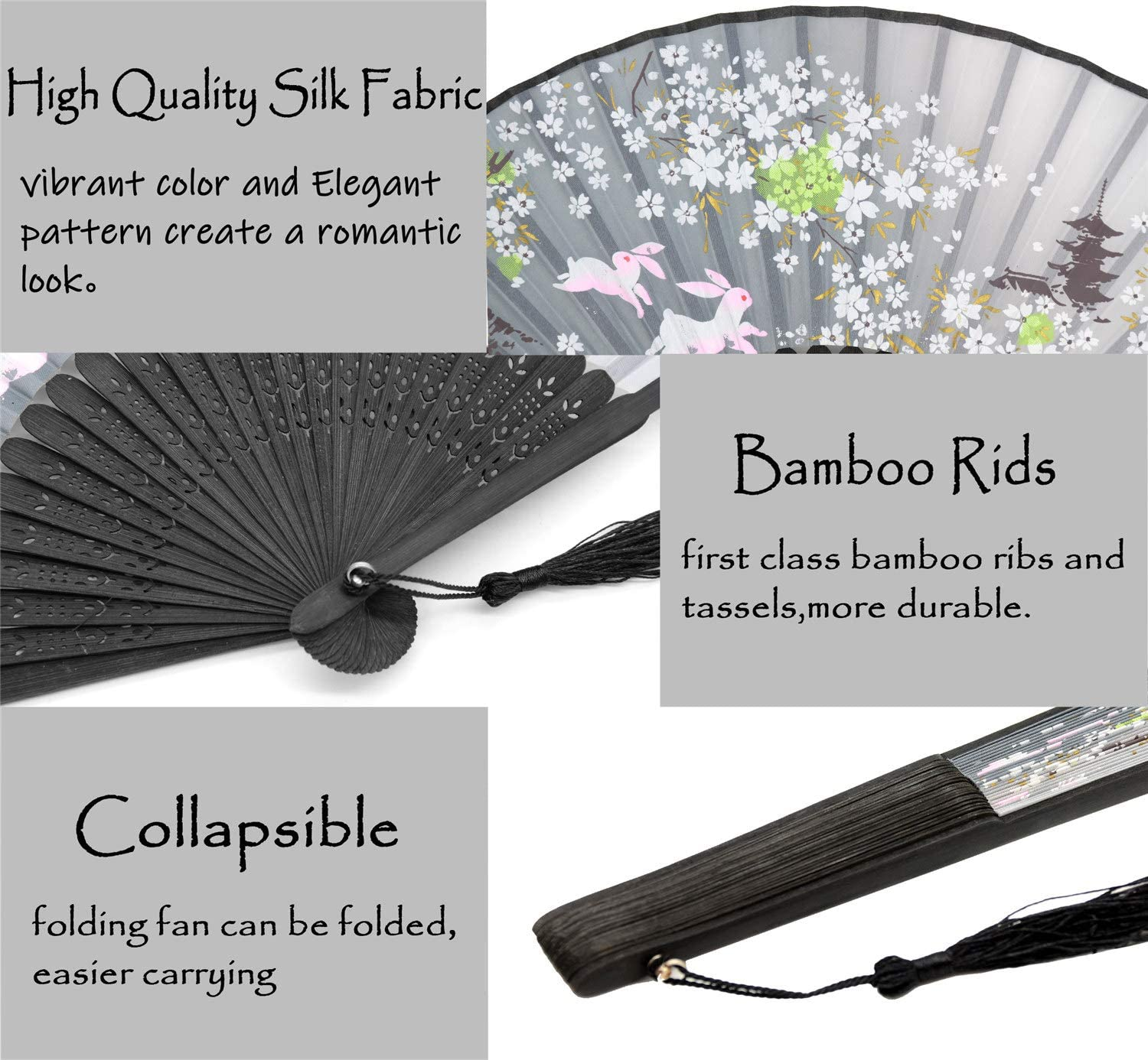 Leehome Folding Hand Fans for Women -Chinese Japanese 2pcs Vintage Bamboo Silk Fans Music Festival for Dance Decorations Pink /& Gray Rabbits Gift. Wedding,Party