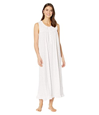 Eileen West Cotton Modal Jersey Sleeveless Ballet Gown (White Ground/Hearts/Buds) Women
