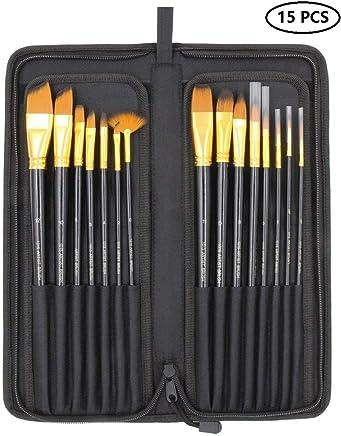 Kurtzy Artist Paint Brush Set with Zipper Carry Case Black (15 Pieces)
