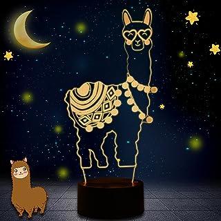 Novedad 3D Ilusión Lámparas LED Alpaca Llama Luces de Noche USB 7 Colores Sensor Lámpara de Escritorio para Niños Navidad Cumpleaños Decoración del Hogar (Whatok)