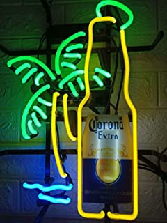 LDGJ Neon Signs for Wall Decor Handmade Sign Home Larger Corona Extra Bottle Palm Tree Custom Beer Bar Pub Recreation Room Lights Windows Glass Party