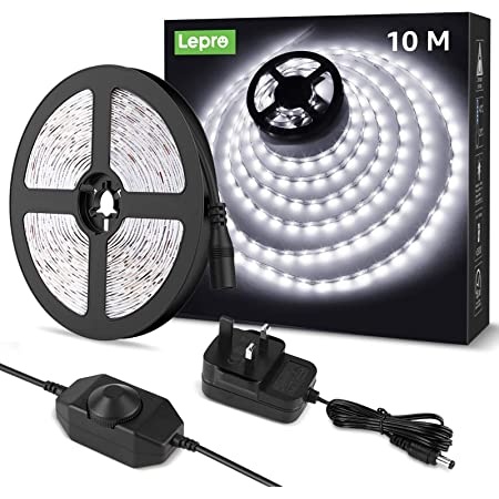 Lepro 10M LED Strip Lights Kit, Dimmable, Cool Daylight White 6000K, Plug and Play LED Tape for Bedroom, Kitchen Cabinet, Mirror and More, 24V Power Supply and Dimmer Switch Included