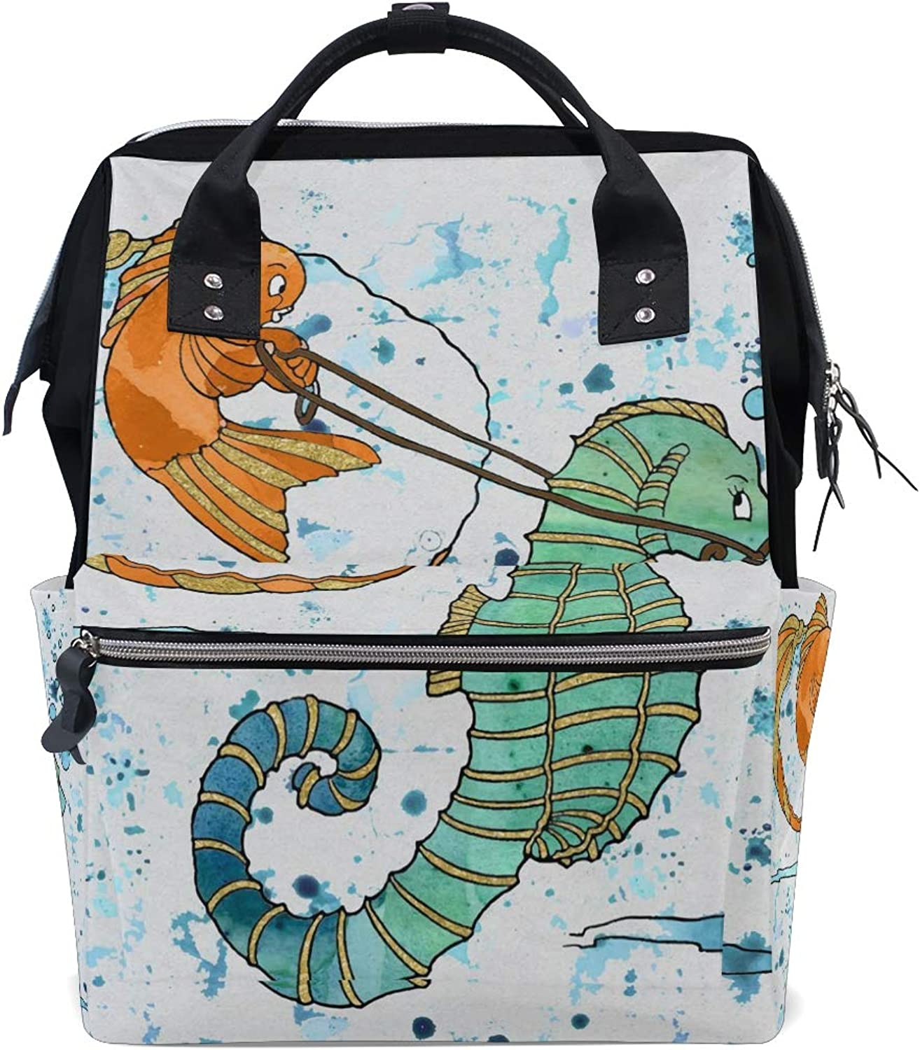FANTAZIO Backpacks Funny Seahorse goldfish Watercolor Painting School Bag Canvas Daypack