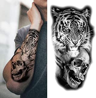 Monster leeuw tijdelijke tattoo voor man vrouw volwassen cross beest sticker zwarte woud wolf hoge kwaliteit tattoo voor a...