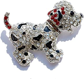 FTH Dalmatian or Spotted Puppy Brooch Pin is Embellished with Black Enamel,Clear,& Red Crystal Rhinestones.Fantastic Gift for a Dalmatian Mom- Beautiful!