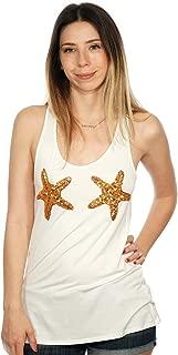 Sequin Starfish Mermaid Nautical Women's Racerback Tank Top