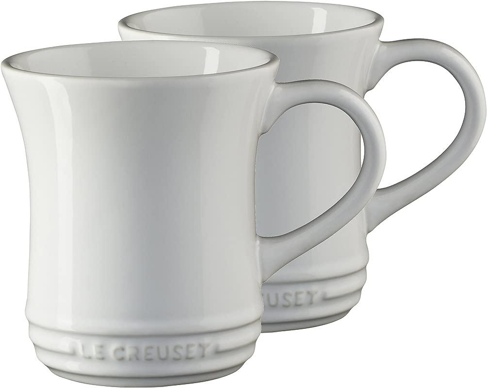 Le Creuset White Stoneware 14 Ounce Tea Mug Set Of 2