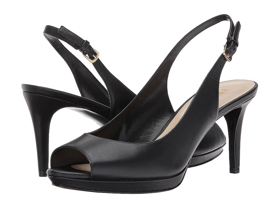 Nine West Gabrielle Slingback Peep Toe Pump (Black Leather 2) Women