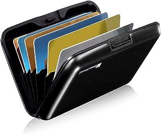 GreatShield RFID Blocking Wallet [8 Slots | Aluminum] Portable Travel Identity ID/Credit Card Safe Protection Card Holder Hard Case for Men and Women (Black)